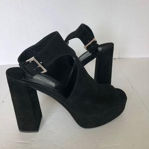 Blac Suede Ankle Strap Heels Sandal Platform